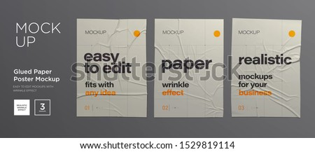 Wrinkled poster template set. Glued paper. Vector Realistic wet wrinkled posters mockup Royalty-Free Stock Photo #1529819114