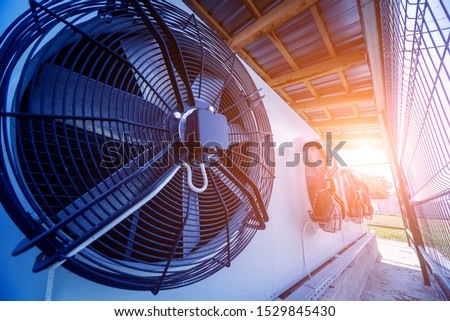 Metal industrial air conditioning vent. HVAC. Ventilation fan background. #1529845430