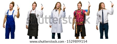 Set of traveler, hiker, doctor, barber and business man holding a credit card and thinking