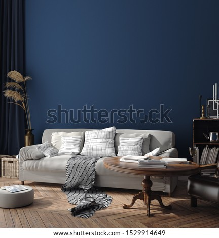 Dark blue Scandinavian home interior  with retro furniture, poster wall mock-up in living room, 3d render #1529914649