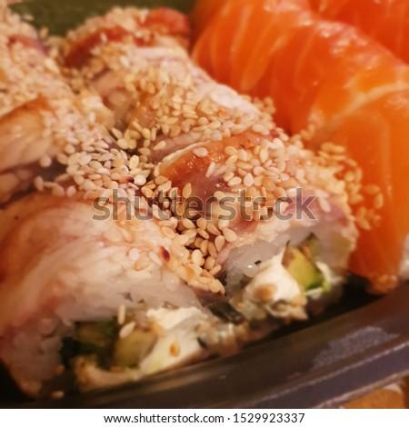Macro photo sushi set with eel and salmon. Stock photo Asian food sushi set