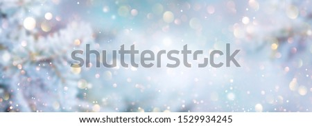 Christmas winter blurred background. Xmas tree with snow decorated with garland lights, holiday festive background. Widescreen backdrop. New year Winter art design, wide screen holiday border #1529934245