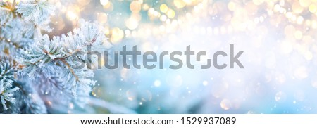 Christmas background. Xmas tree with snow decorated with garland lights, holiday festive background. Widescreen frame backdrop. New year Winter art design, Christmas scene wide screen holiday border #1529937089