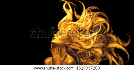Gold Woman. Beauty fashion model girl with Golden make up, Long hair on black background. Gold glowing skin and fluttering hair. Metallic, glance Fashion art portrait, Hairstyle. Fashion art design #1529937203