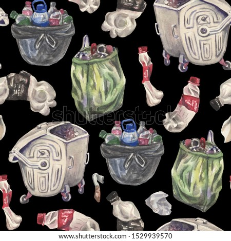 Watercolor seamless pattern on the theme of environmental pollution by plastic waste. Metal trash bin, twisted plastic bottle for soda, plastic bags with household waste.
