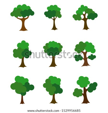 Vector set green trees icon. #1529956685