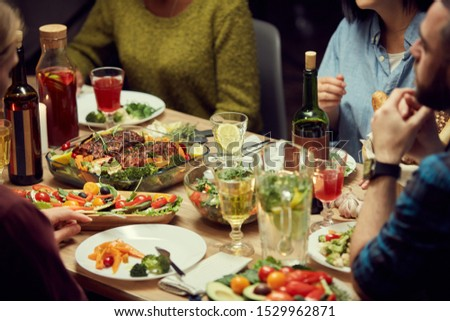 Cropped image of delicious homemade food at dinner table during house party, copy space #1529962871