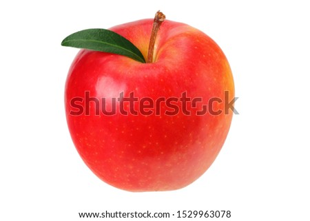 red apples with green leaves isolated on a white background #1529963078