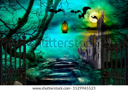 Halloween background. Spooky forest with flying bats in the night.