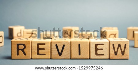 Wooden blocks with the word Review. Customer review concept. Reviewing, auditing, reviewer. Service rating. Feedback. #1529975246