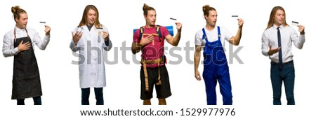 Set of traveler, hiker, doctor, barber and business man holding a credit card and surprised