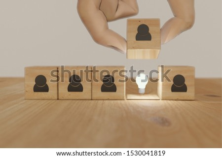 3d rendering hand man try to find, pull or put an idea after the positive thinking team are brainstorm, meeting, discuss, find a solution, resolve the problem #1530041819