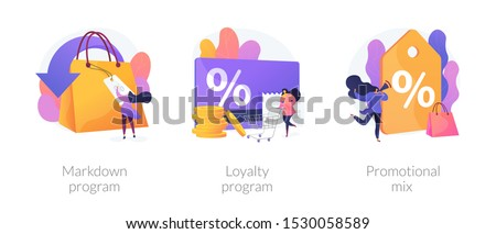 Shopping marketing campaign icons cartoon set. Store special offers advertisement. Markdown program, loyalty program, promotional mix metaphors. Vector isolated concept metaphor illustrations #1530058589