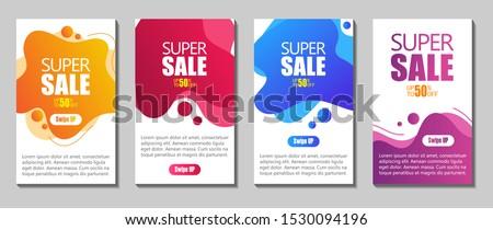 Vector Modern Fluid For Big Sale Banners Design. Discount Banner Promotion Template. Dynamic modern fluid mobile for sale banners. Sale banner template design, Super sale special offer set. #1530094196