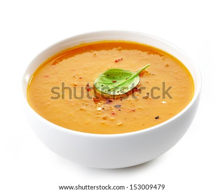 Bowl of squash soup isolated on a white background #153009479