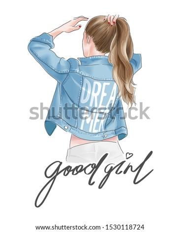 good girl slogan with ponytail girl in jacket illustration Royalty-Free Stock Photo #1530118724