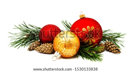 Christmas decoration golden yellow and red balls with fir cones and fir tree branches isolated on a white background  #1530133838