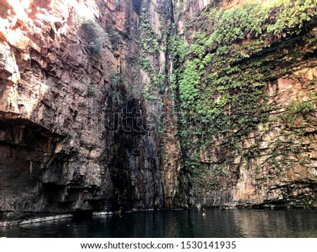 Stunning view on the beautiful Emma Gorge swimming hole in the El Questro Wilderness Park in Western Australia #1530141935