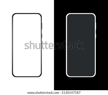 Mockup phone with white screen. Smartphone The shape of a modern mobile phone is designed to place ads or images on the screen. Black and White. Vector illustration.