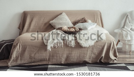 Modern interior of the living room with a sofa and decorative items . Decorative pillows and blankets. Coziness and comfort at home . #1530181736
