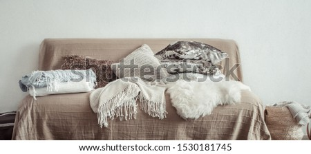 Modern interior of the living room with a sofa and decorative items . Decorative pillows and blankets. Coziness and comfort at home . #1530181745