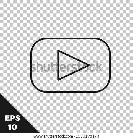 Black line Play icon isolated on transparent background.  Vector Illustration #1530198173