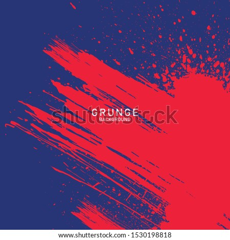 brush strokes blue and red,  hand-drawn illustration background Royalty-Free Stock Photo #1530198818