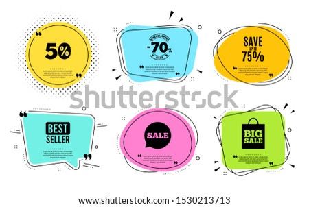 Save up to 75%. Best seller, quote text. Discount Sale offer price sign. Special offer symbol. Quotation bubble. Banner badge, texting quote boxes. Discount text. Coupon offer. Vector #1530213713