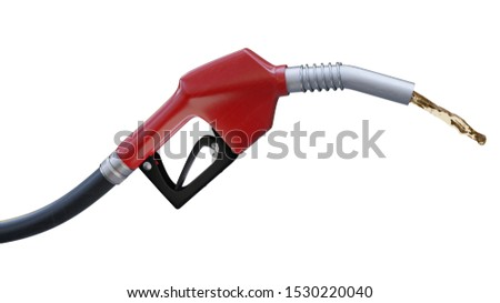 Fuel nozzle with stream, close up view on white with clipping path. 3d render illustration #1530220040