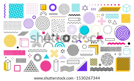 Set of 100 geometric shapes. Memphis design, retro elements for web, vintage, advertisement, commercial banner, poster, leaflet, billboard, sale. Collection trendy halftone vector geometric shapes. #1530267344