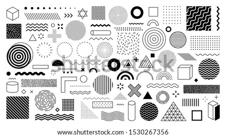 Set of 100 geometric shapes. Memphis design, retro elements for web, vintage, advertisement, commercial banner, poster, leaflet, billboard, sale. Collection trendy halftone vector geometric shapes. #1530267356