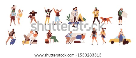 Tourists on vacation flat vector illustrations set. Young travelers cartoon characters. Seasonal recreation, adventure trip concept. Tropical resort, camping, waiting at airport and taxi catching. #1530283313