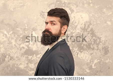 Guy brutal fashion model with long beard and mustache. Business people fashion style. Facial hair and grooming. Man handsome bearded businessman wear formal suit. Menswear and fashion concept. #1530333146