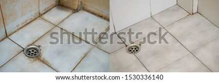 Before and after cleaning dirt on floors, walls, and corners of bathroom tiles. Slippery and may have an accident. Accumulation of pathogens. #1530336140