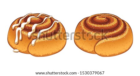Cinnamon rolls with sugar icing set in cartoon style vector illustration. Royalty-Free Stock Photo #1530379067