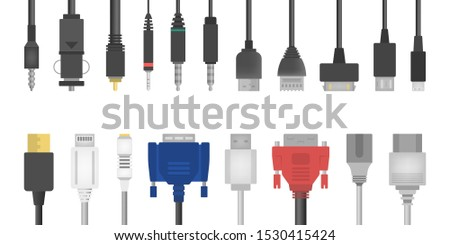 Cable wire set. Collection of audio and video connector. Computer technology. Isolated vector illustration in flat style #1530415424