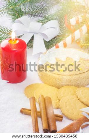 Christmas card with Christmas tree and decorations. Festive Christmas card #1530435458