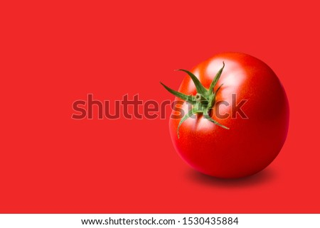 red tomato with a green stalk, on a red background, concept, copy space #1530435884