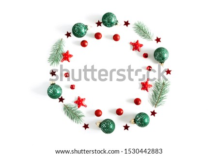 Christmas holiday composition. Xmas decorations on white background. Christmas, New Year, winter concept. Flat lay, top view, copy space #1530442883