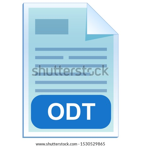 File format or file extension of text document - ODT flat icon for user interface applications and websites. Open Document Format it is free open standard. Vector illustration