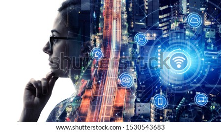 Communication network concept. AI (Artificial Intelligence). #1530543683