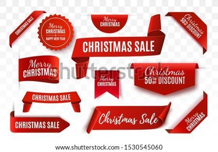 Christmas Sale Tags collection. Red scrolls and banners isolated. Merry Christmas and Happy New Year labels. Vector Price Tags illustration #1530545060