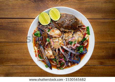 Yum,Blue Crab Salad,Spicy horse crab,Thai food, Yum Pu Dong,Spicy Pu Dong(Crab pickle) thaifood,Thai food, spicy seafood crab salad  #1530565682