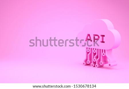 Pink Cloud api interface icon isolated on pink background. Application programming interface API technology. Software integration. Minimalism concept. 3d illustration 3D render