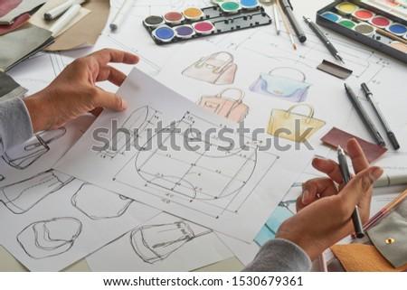 Designer stylish sketch Drawn design template pattern made leather clutch bag handbag purse Woman female Fashionable Fashion Luxury Elegant accessory.                                #1530679361