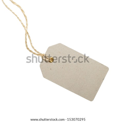 Empty shopping tag template isolated on white