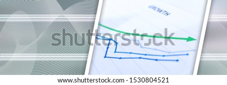 Financial graphs showing growth closeup; panoramic banner #1530804521