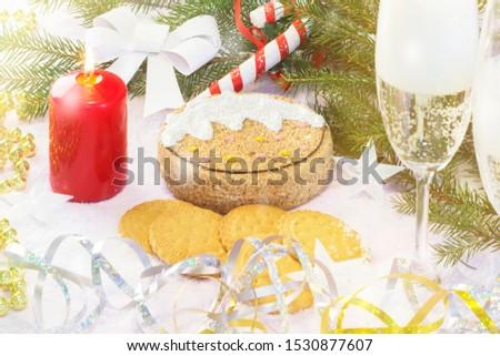 Christmas card with Christmas tree and decorations. Festive Christmas card #1530877607
