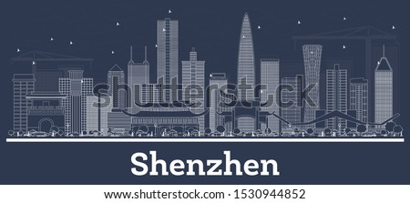 Outline Shenzhen China City Skyline with White Buildings. Vector Illustration. Business Travel and Concept with Historic Architecture. Shenzhen Cityscape with Landmarks. Royalty-Free Stock Photo #1530944852