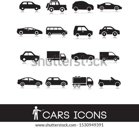 Vehicle symbols. Cars icons set in black.  #1530949391